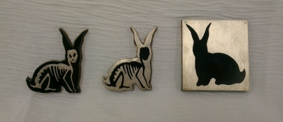Ginger Bottari, brooches (Boom Boom series), perspex and saw pierced silver