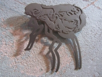 Ginger Bottari, Flea brooch (from the Black Plague series), saw pierced titanium