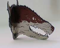 Ginger Bottari, Fox brooch (side view, from the Skullduggery series), saw pierced silver and titanium (anodised), sapphire