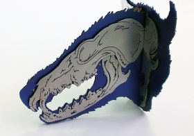 Ginger Bottari, Fox brooch (obverse view, from the Skullduggery series), saw pierced silver and titanium (anodised), sapphire