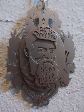Ginger Bottari, Ned Kelly cameo from the Prisoners of the Crown series, saw pierced titanium