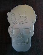 Ginger Bottari, Skull Rat brooch, saw pierced titanium