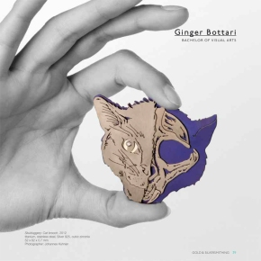Ginger Bottari, Cat brooch (from the skullduggery series, saw pierced silver and titanium (anodised), cubic zirconia