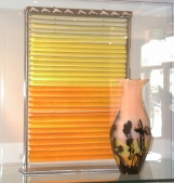 Megan Bottari, 'Descending Shades of Sunshine', slumped and blown glass, silver tokens, stainless steel