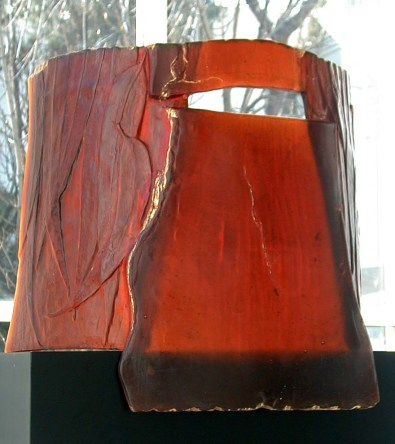 Megan Bottari, Large Kelly mask, lost wax cast crystal, gold leaf.