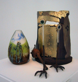 Megan Bottari, 'Master's Apprentice' from the Ned Kelly series, blown and lamp worked glass, lost wax cast crystal. (Brenden Scott French's hot-sculpted gun.)