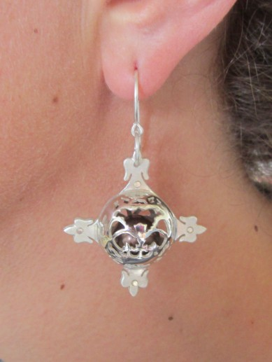 Ginger Bottari, Caged Pearl earrings (chocolate), South Sea pearls, silver