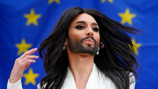 Wurst, the bearded transgender winner of the Eurovision Song Contest, performs during a concert at the European Parliament in Brussels