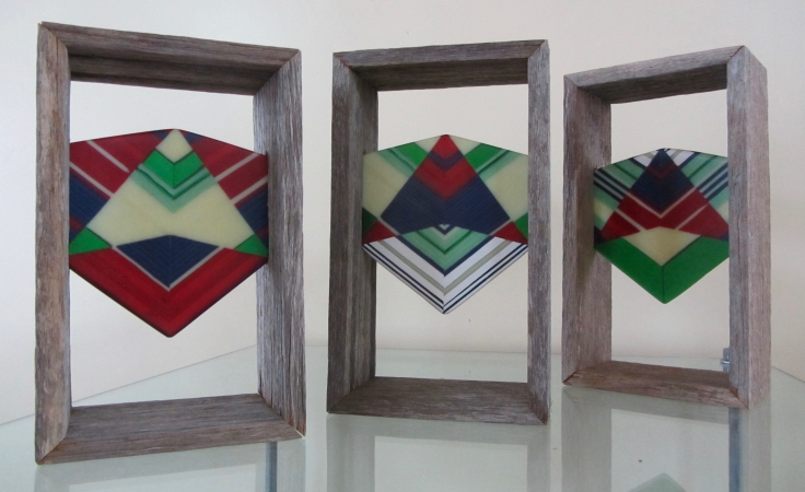 Megan Bottari, Don't fence me in: Yardbirds #4 (from the Chevron series), fused glass, old police fence paling