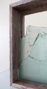 Megan Bottari, Stringybark Creek: vignette #1, gun shot glass (fused), vintage police fence paling