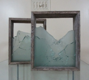 Megan Bottari, 'Stringybark Creek: vignette #2', gun shot glass (fused), vintage police fence paling