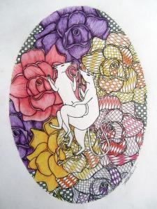 Ginger Bottari, Ratsutra #9, pencil and ink drawing