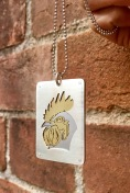 Ginger Bottari, Zodiac Tags - Year of the Rooster, saw pierced silver, brass and titanium
